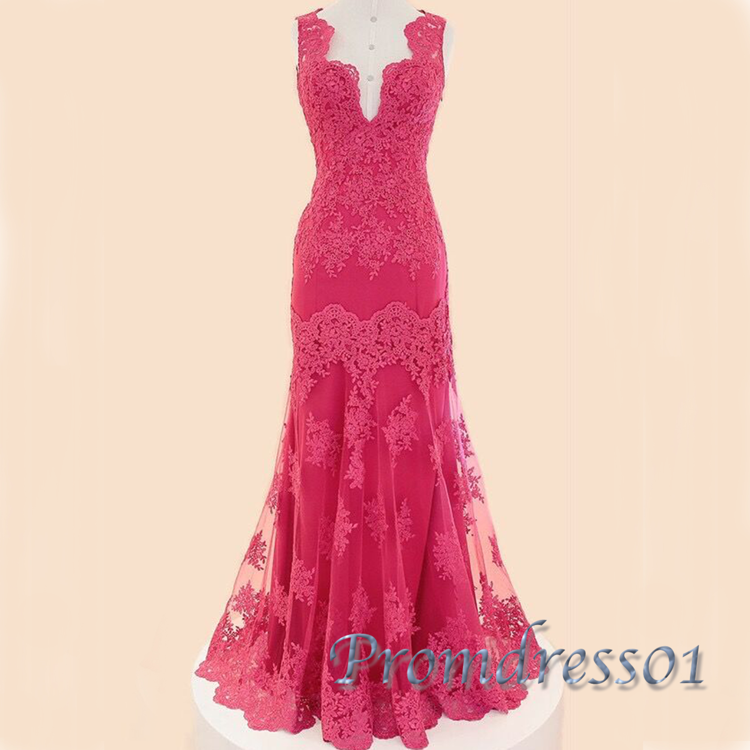 Hot pink lace V neck long mermaid evening dress