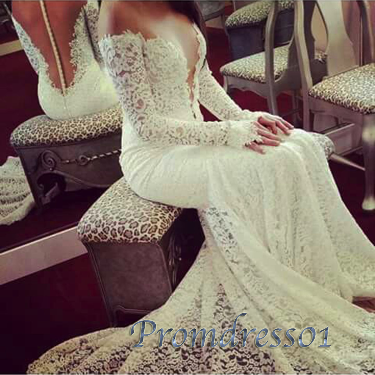 Luxury Creamy Lace Long Sleeves Wedding Dress Gown Prom