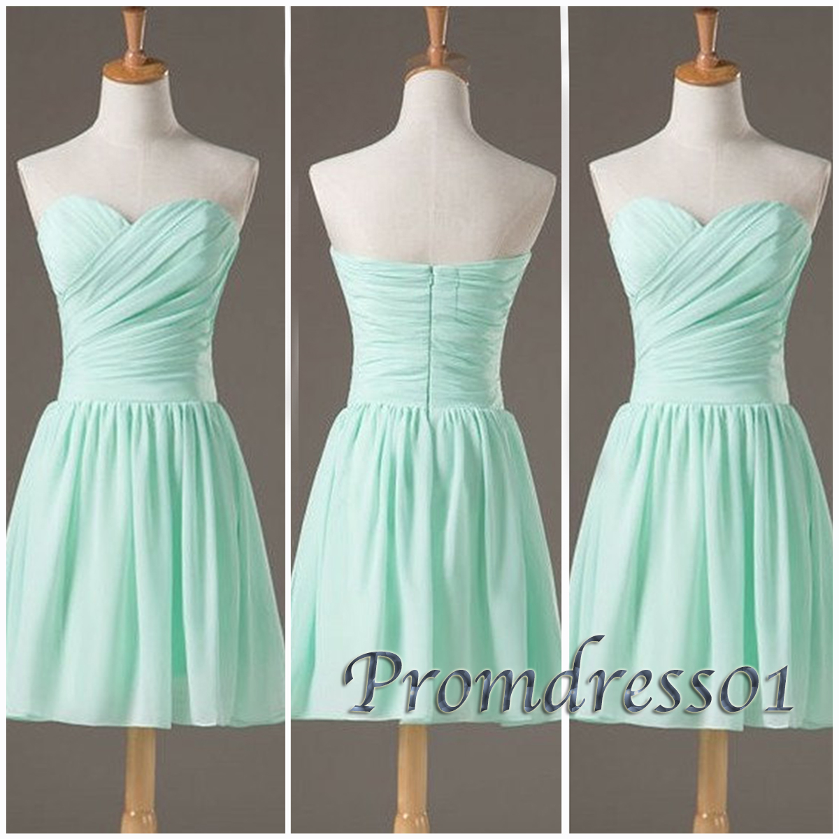Simple sweetheart chiffon short home ing dress