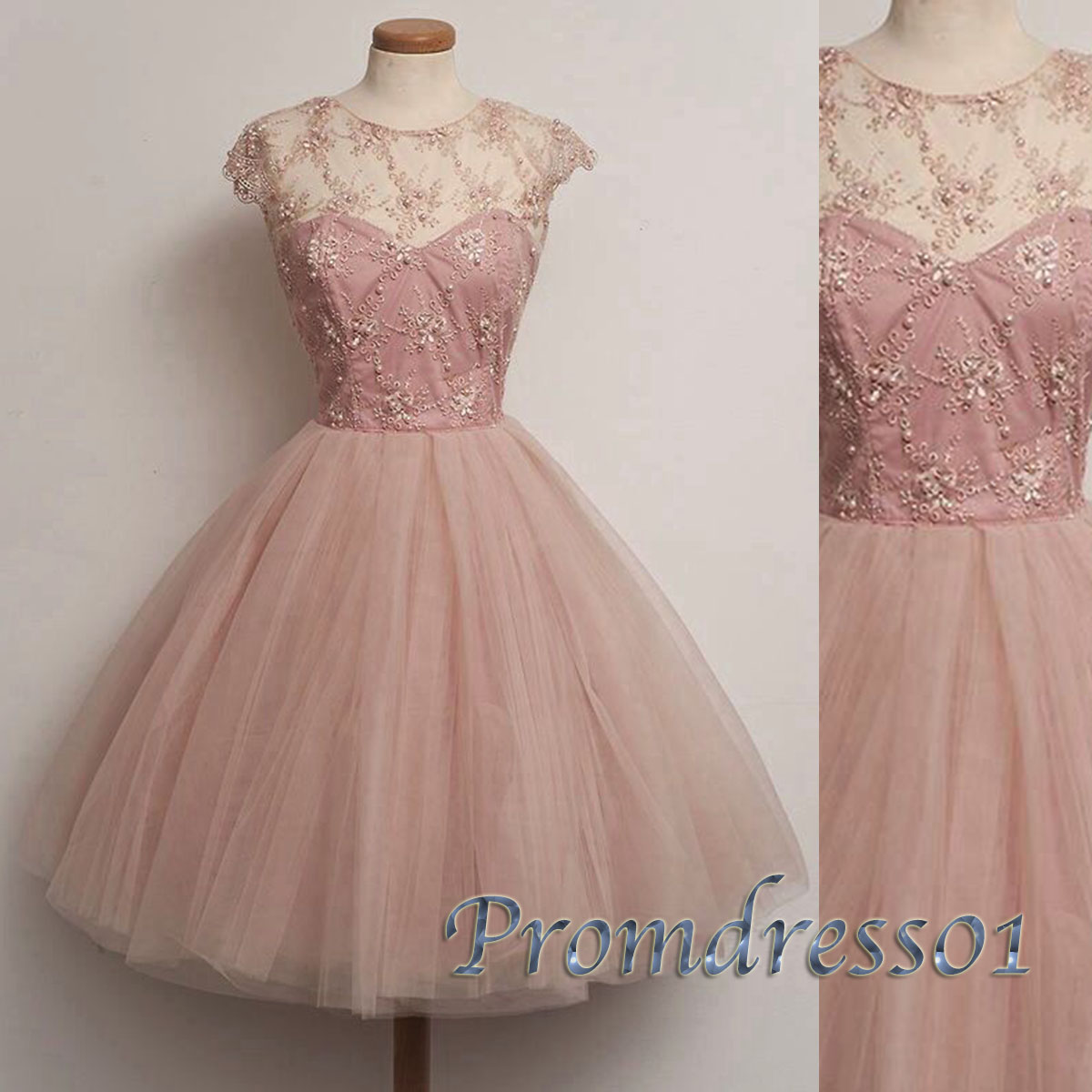 pretty light pink tulle beaded short party dresses prom