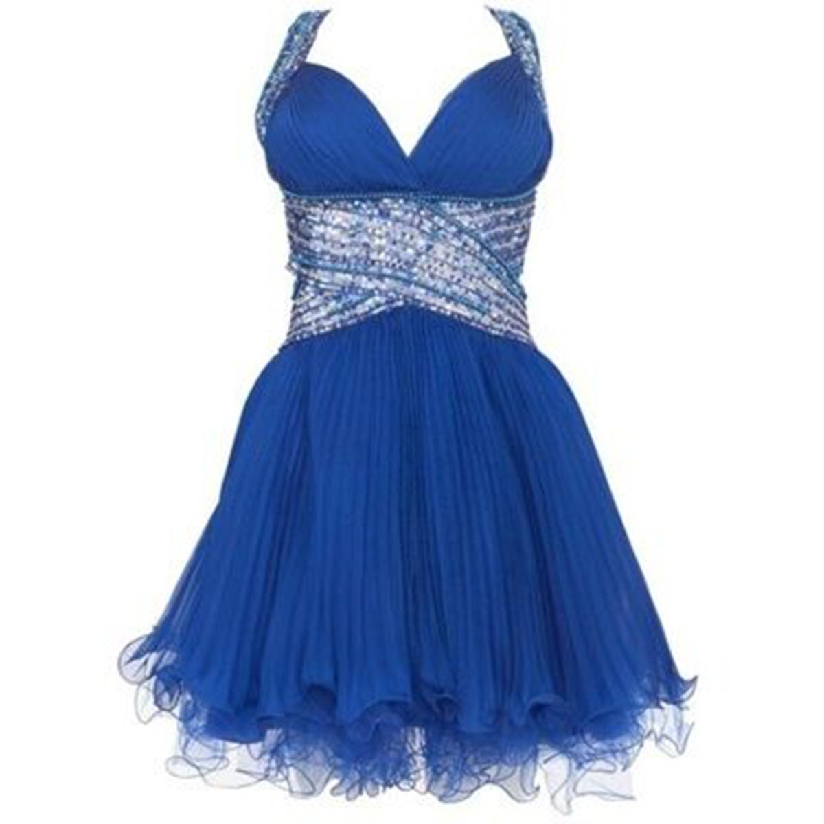 Cute cross back blue chiffon short prom dress