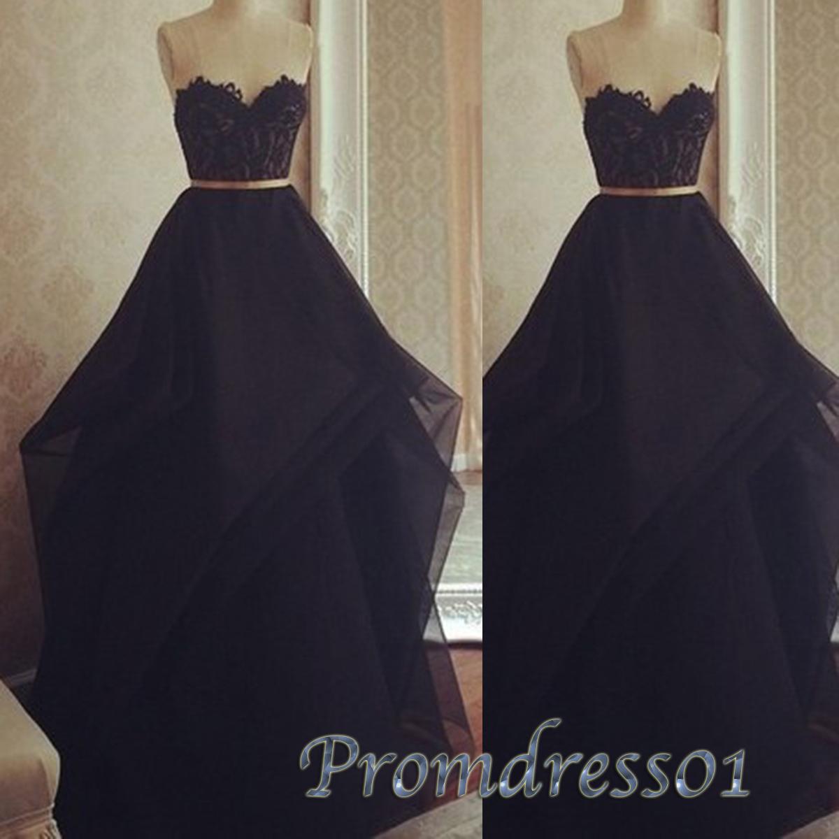 Simple black chiffon sweetheart long evening dress