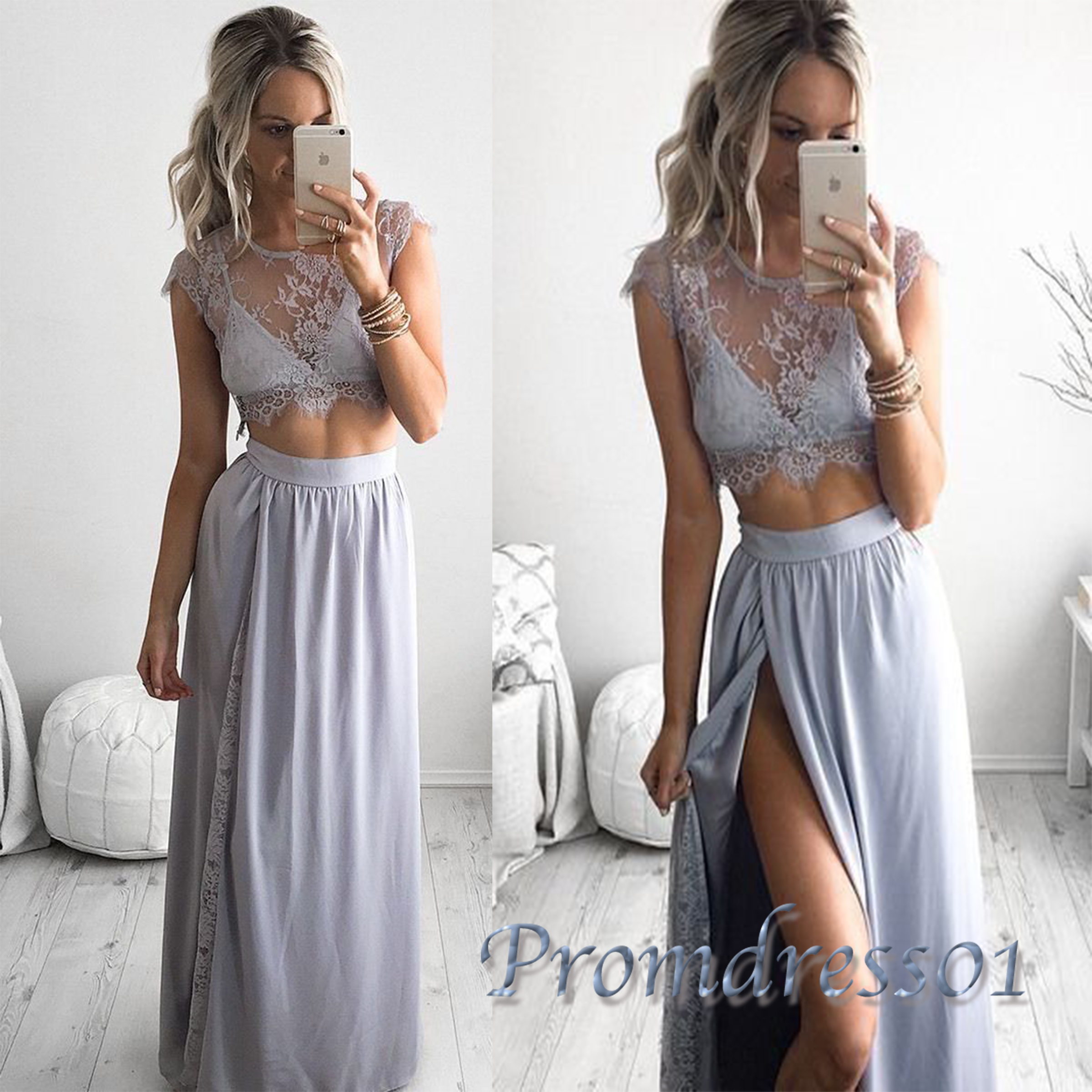 grey sexy two pieces slit lace long prom dresses | Prom ...