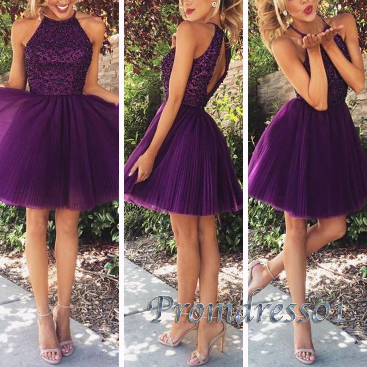 Cute purple tulle bead round neck short prom dress