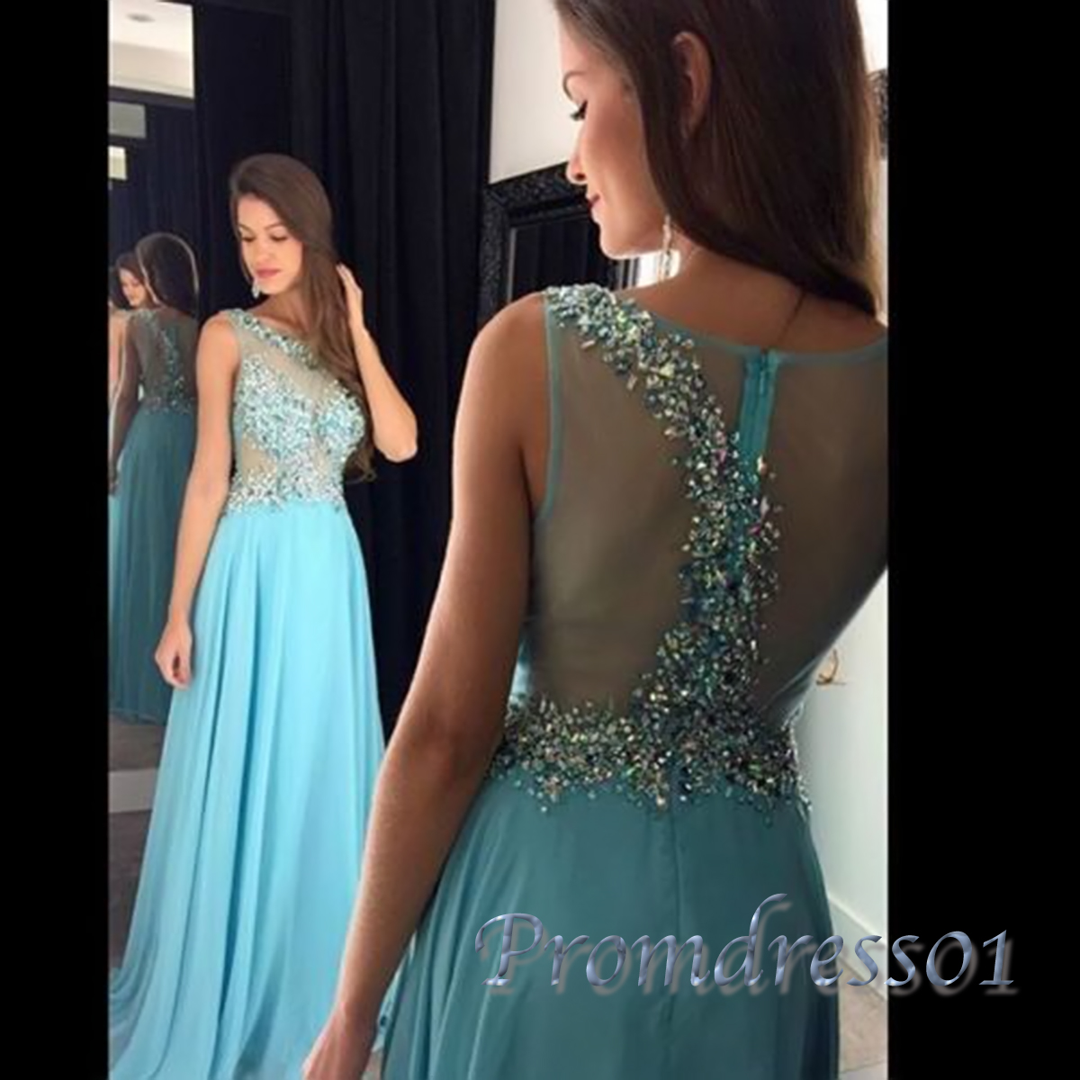 baby blue sequins see through pageant prom dress