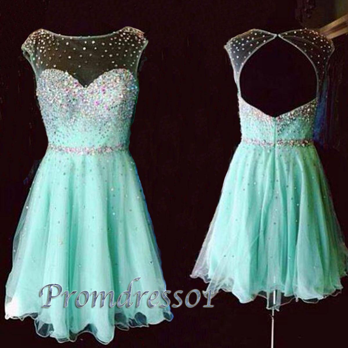 Aqua blue handmade backless short evening dress