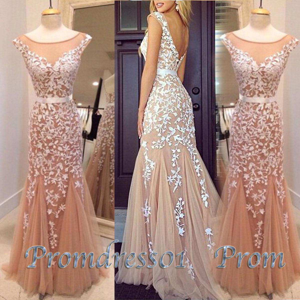 Champagne long home ing prom dress with lace