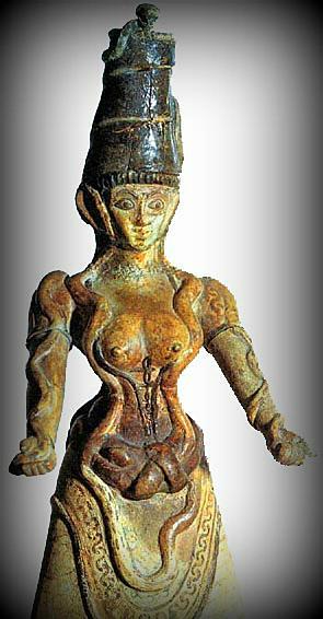 Knossos faience snake goddess figurine