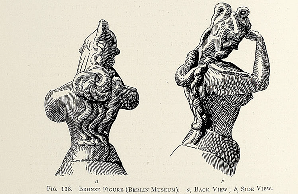Female figure making Minoan salute gesture