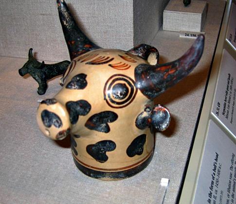 Bovine head rhyton