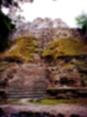 Closeup of the steps to the temple ruins at Lamanai, Belize
