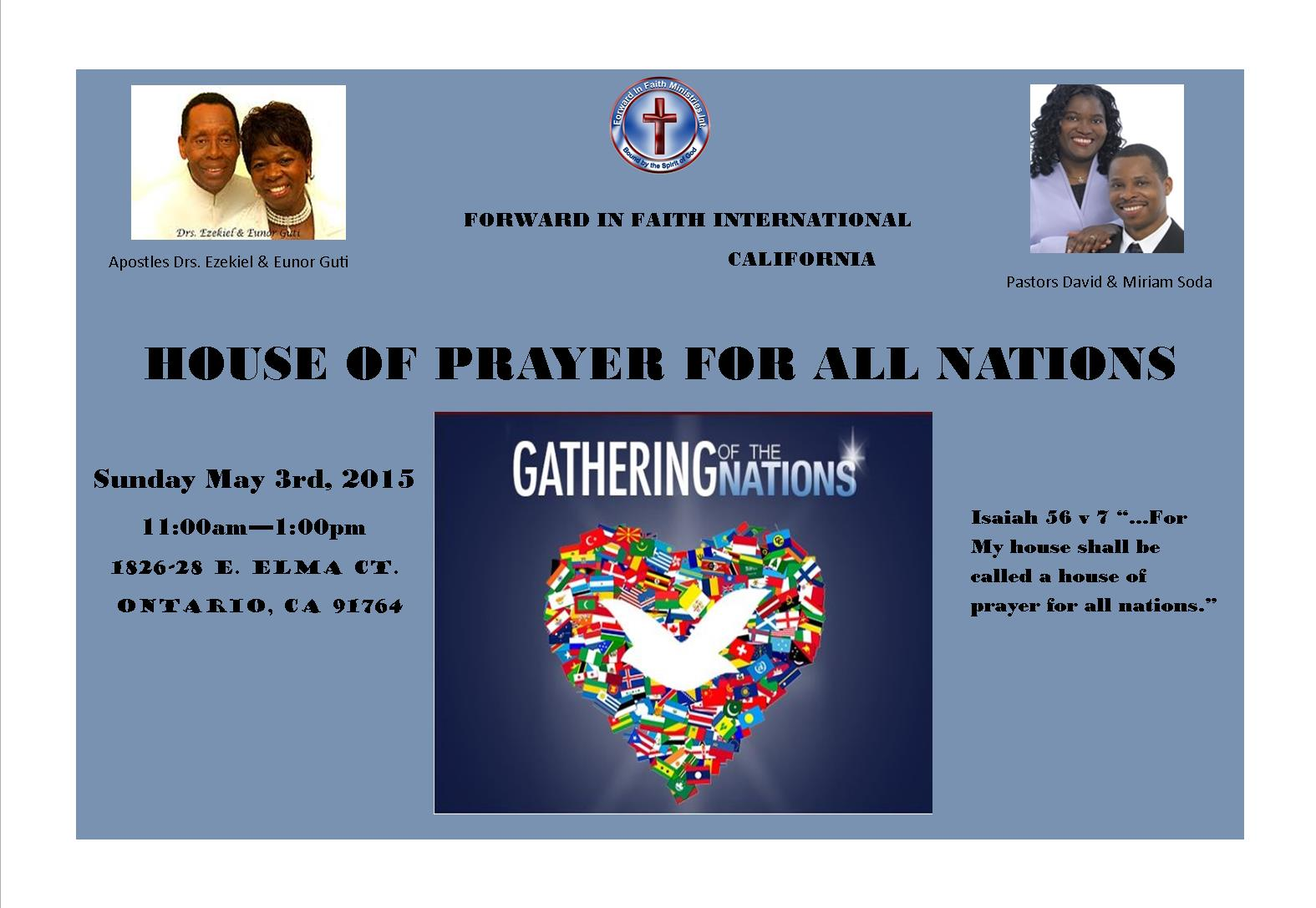 house of prayer for all nations! | forward in faith ministries