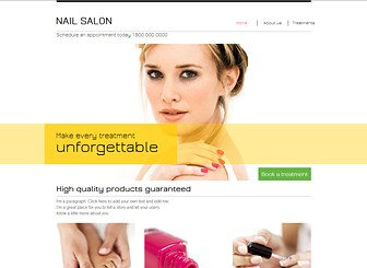 "Nail Salon Template - A chic template featuring modern fonts and a bright color scheme awaits your beauty salon. Use the column layout on the home page to highlight your major services and create a more detailed price list on the ""Treatments"" page. Personalize the design and layout to craft a stylish website that represents your brand!"