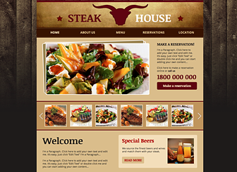 Steakhouse Template - Express the unique atmosphere of your eatery with the rustic design and wood-paneled background of this template. Upload images of your sumptuous dishes to set stomachs rumbling. This is the perfect place for hungry diners to browse your menu and make reservations.