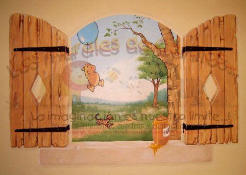 Murales infantiles y pintura decorativa los murales de for Cuarto winnie pooh