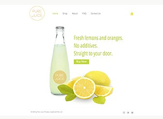 "Fresh Juices Template - This fresh and vibrant theme is perfect for hosting your healthy, tasty product. Upload photos to showcase your goods and add text to tell visitors about your business. The ""Buy Now"" button on the homepage brings customers straight to your catalog. The world is thirsty – start juicing today!"