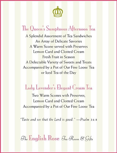 Rose Tea Room Menu
