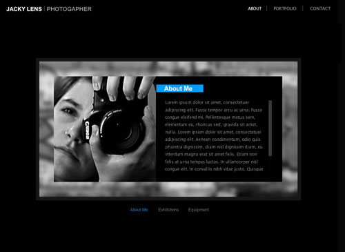 Simply Photography Template - Let your photographs pop out with pure clarity against the background of this darkly lit web template. Simply add your bio, portfolio images and contact information to complete your new website.