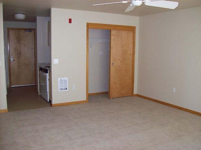 Studio With Tan Carpet