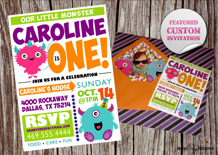 MonEliza Designs Dallas Custom Invitations – Monster Party Invites