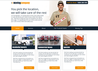Moving Company Template - Bright, friendly, and easy to navigate, this free website template anticipates the needs of small business owners. Personalize the text to advertise your services and rates and upload photos to convey a personable and professional image to customers. Start editing to jumpstart your business today!