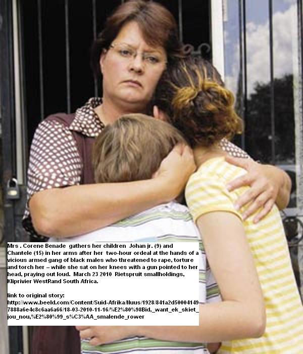 Benade Mrs Corene hugs kids Johan 9 and Chantele 15 March232010 SmalloldingRietspruitAttack.jpg