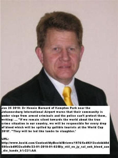 Dr Hennie Barnard Kempton Park near Joburg Airport warns tourists to stay away.jpg