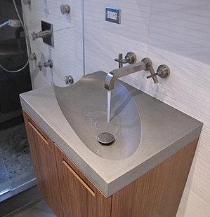 concrete oval sink