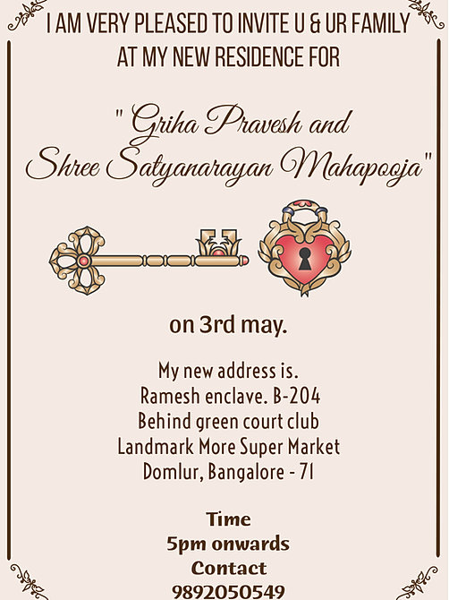 Housewarming Invitation In Kannada - Free Custom Invitation Template Design | Verrado Drift