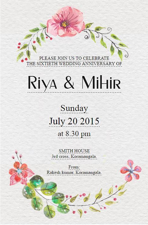 Free Wedding Anniversary Invitation Wordings India