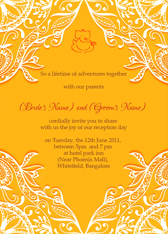 Free Wedding Reception Ceremony Invitation Wordings India