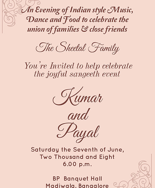 Mehndi Sangeet Party Food Menu : Free sangeet invitation wordings online