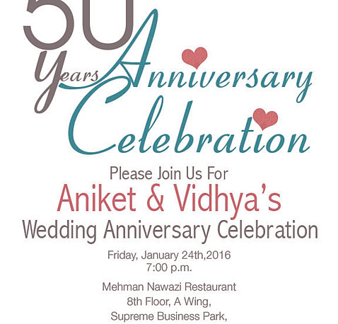 50th Wedding Anniversary Invitations No Gifts Please Wedding ...