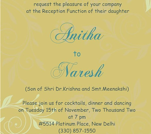 Indian Style Wedding Reception Invitation Wordings Online – Funeral Reception Invitation