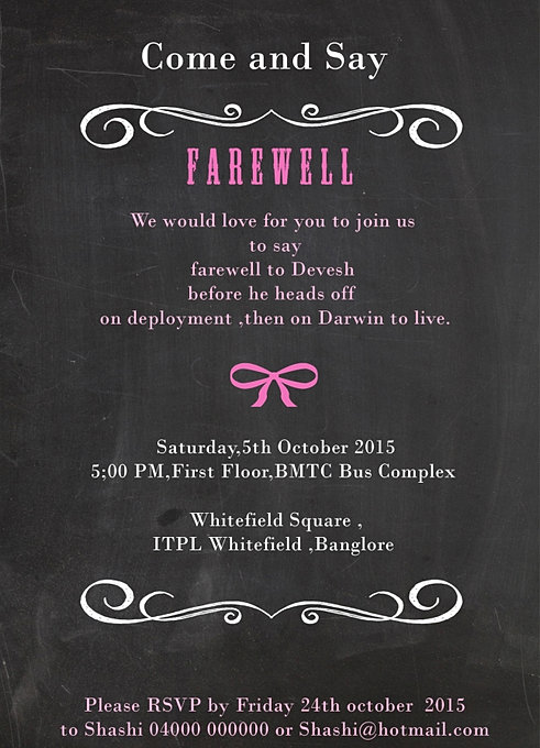 Indian Style Farewell GoodBye Sendoff Party Invitation Wordings – Farewell Invitations Templates