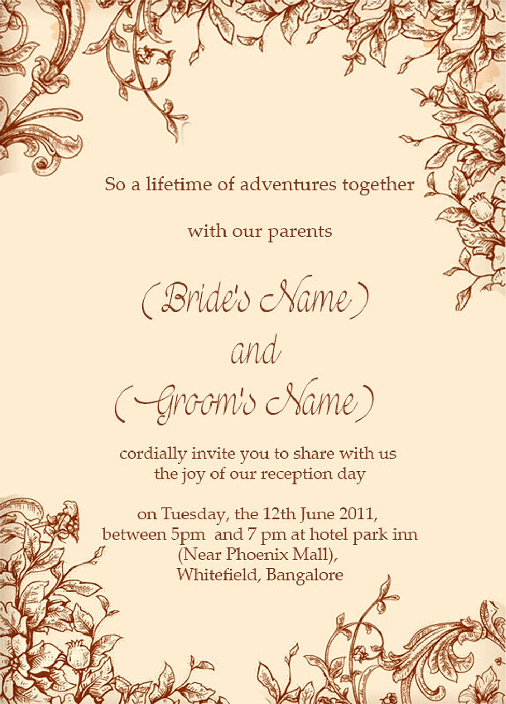Wedding Reception Invitation Wording gangcraftnet
