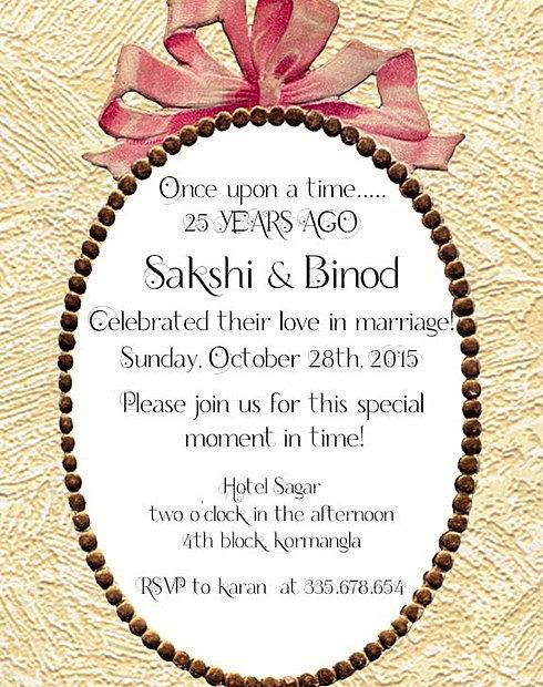 Free Wedding Anniversary Invitation Wordings India – 25th Wedding Anniversary Invitation Ideas