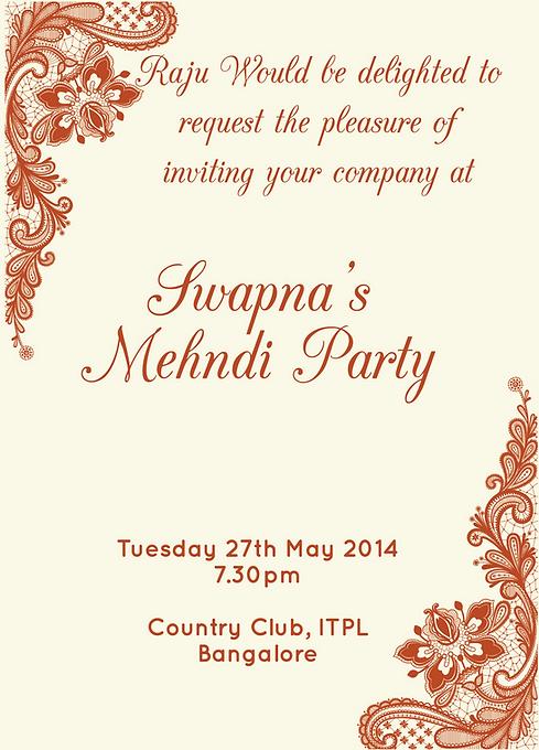 Free Mehndi Invitation Wordings Online - Inviteonline.co.in