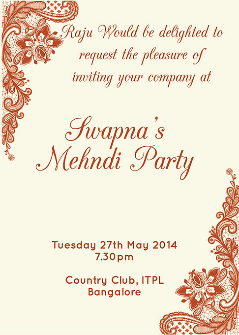 Mehndi Party Invitation Wording : Free mehndi invitation wordings online inviteonline
