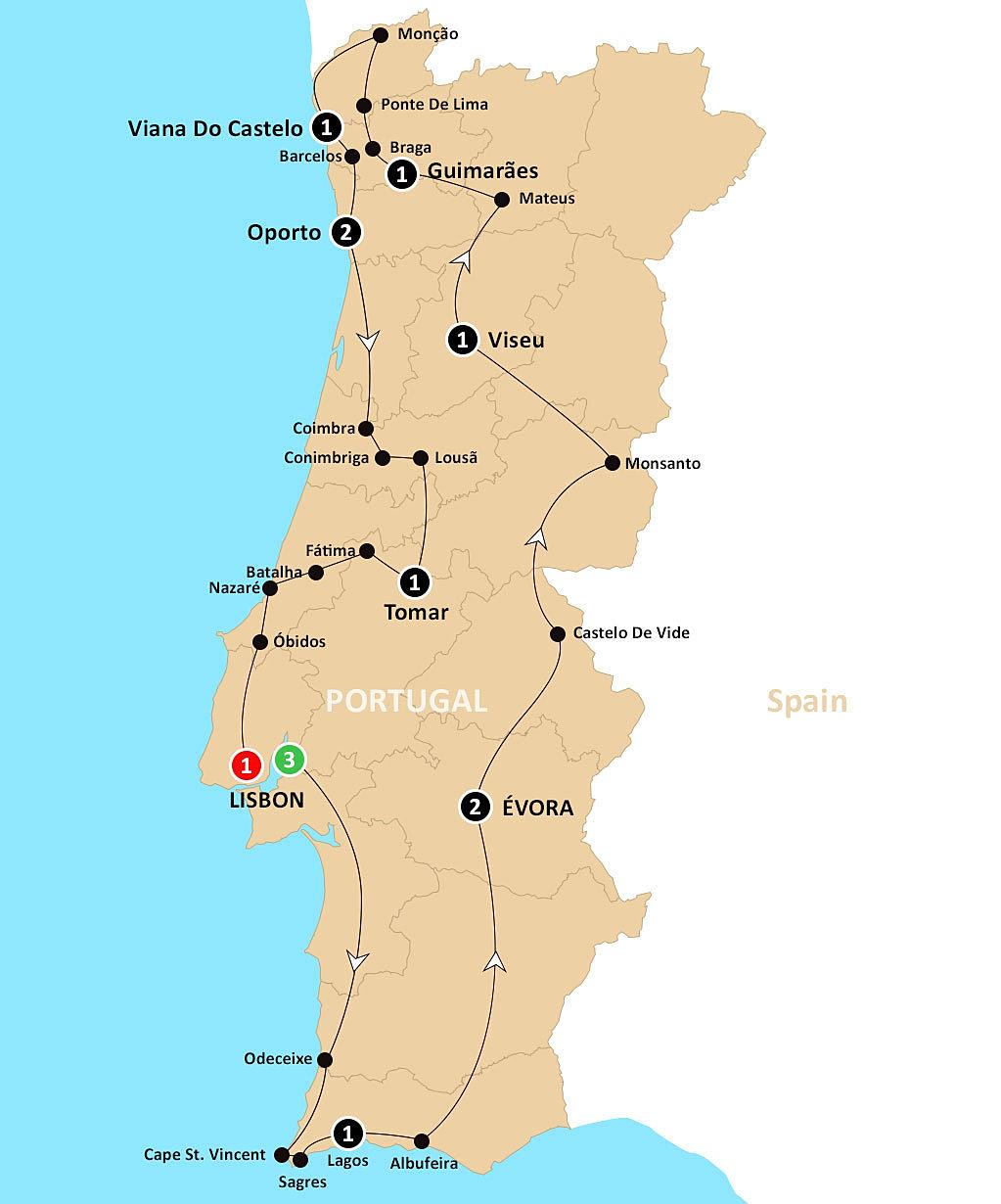 Portugal Tour - Portugal map viseu