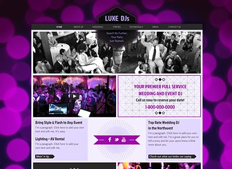 Wedding DJ Template - Take the wedding market by storm with this bold and stylish template. Add text to advertise your services and upload tracks and videos to let visitors sample your sound. Create a customized website and start attracting new customers!
