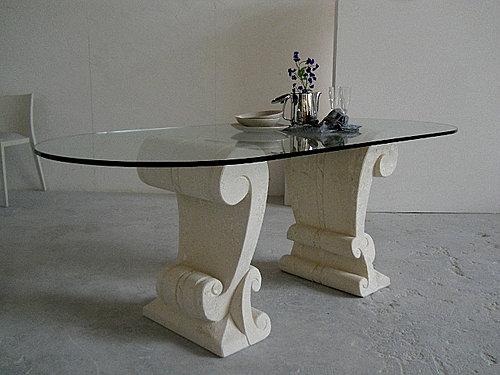 Stonebreakers tavoli in vetro e pietra per casa e ufficio - Base per tavolo cristallo ...