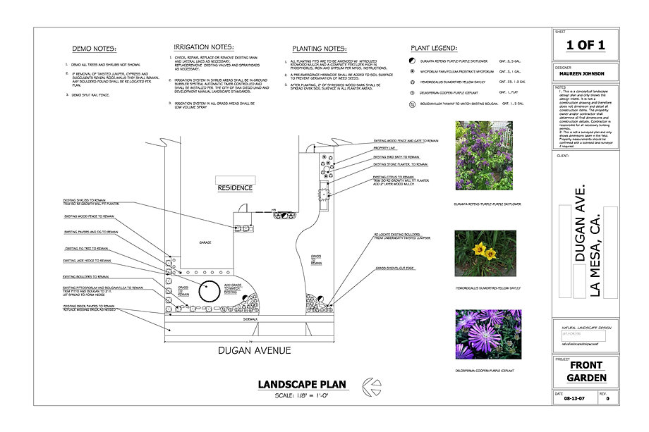 Natural landscape design sample blueprints for Sample landscape plan