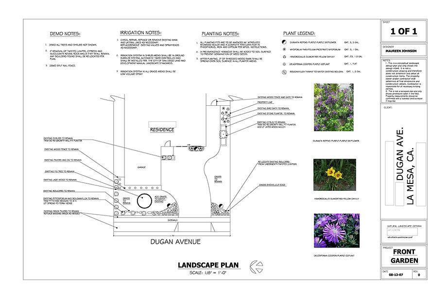 Natural Landscape Design Sample Blueprints