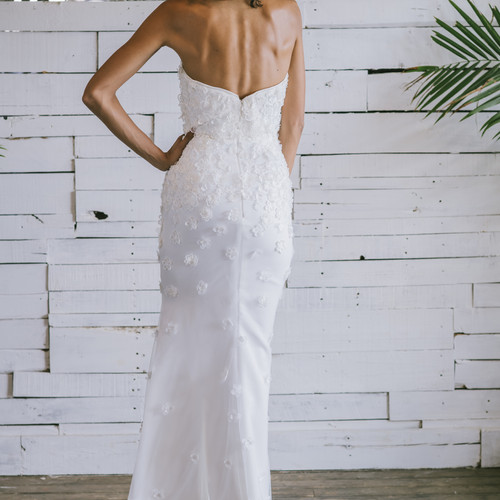 Strapless Floral Brooklyn Wedding Dress Custom Designer Gown New York Bridal Design Boutique Designs Made In