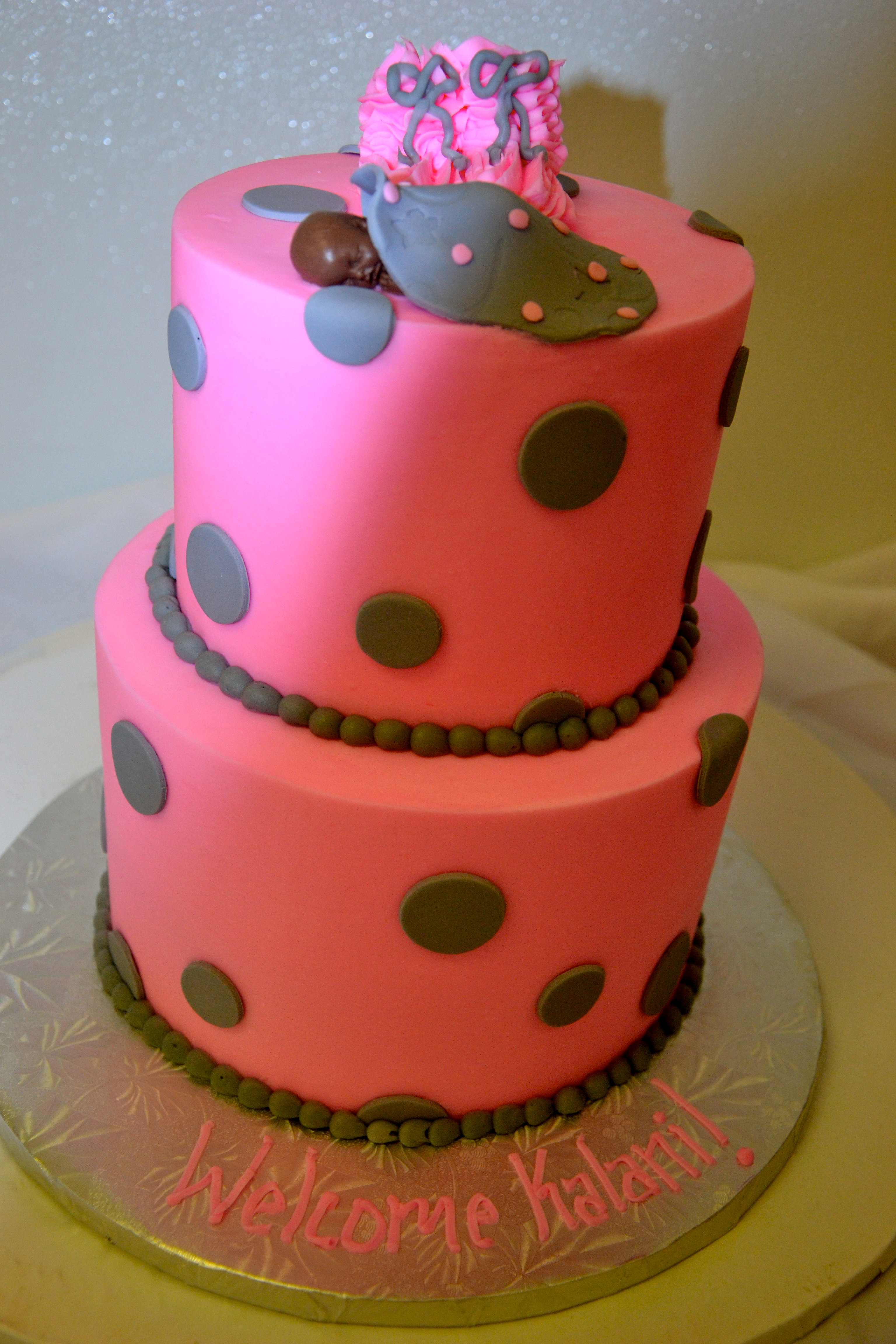 Soonja's Bakery Dallas Custom Cakes   Pink with Brown Dots ...