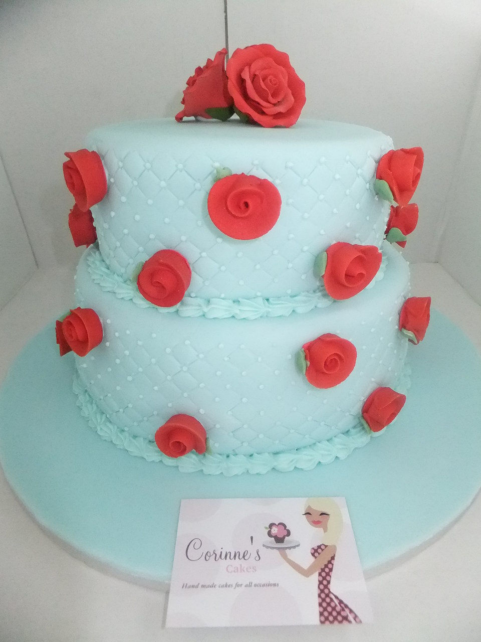 2 tiered birthday rose cake