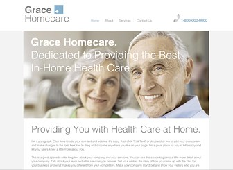 Home Healthcare Template - A warm and professional website template perfect for any healthcare providers or caregivers. The ample space for text allows you to focus attention on your services and professional vision. Simply personalize the text to describe your services and add photos to show customers a friendly face and build a professional website that represents your business.