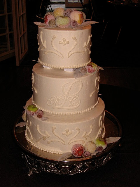 Wedding Cake With Columns And Fresh Sugared Fruits NC Mountain Cakes Destination High Country Boone
