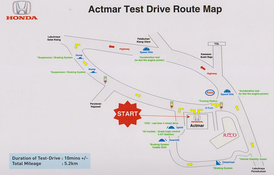 Following Is The Route Map For Honda Actmar Test Drive